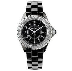 Chanel 33mm J12 Black Ceramic Diamond Watch H0949