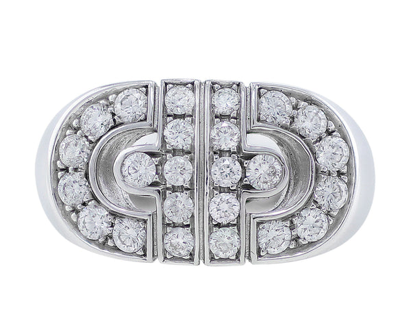 Bulgari Monoblocco Parentesi 18k White Gold Diamond Ring 340630