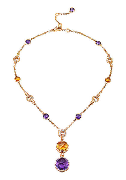 Bulgari Parentesi Pink Gold Gemstone Necklace 344851