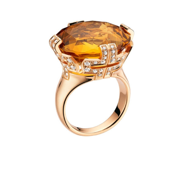 Bulgari Parentesi Pink Gold Citrine Ring 344865