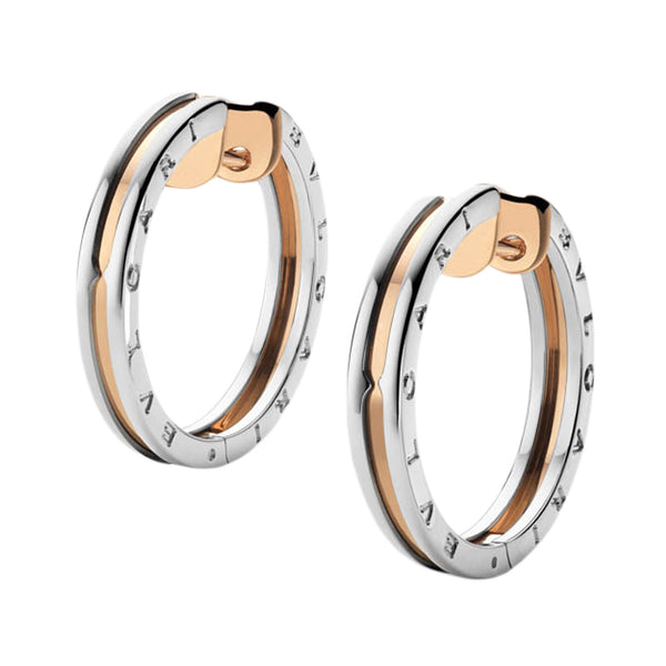 Bulgari B.Zero1 Pink Gold and Steel Earrings 345503