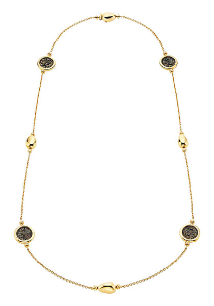 Bulgari Monete Yellow Gold Antique Bronze Coin Necklace 346334