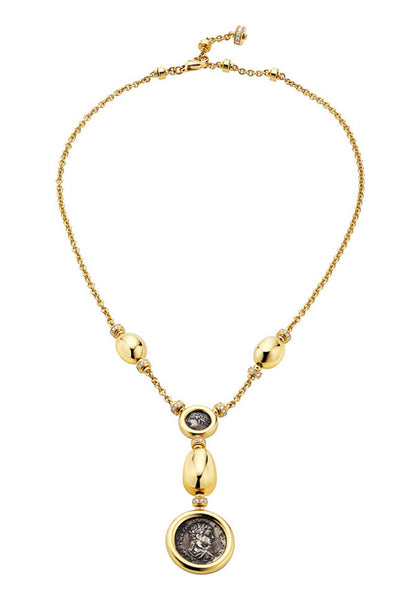 Bulgari Monete Yellow Gold Antique Silver Coin Necklace 346335
