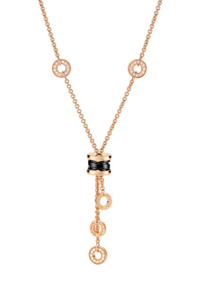 Bulgari B.Zero1 Pink Gold and Black Ceramic Diamond Necklace 347578