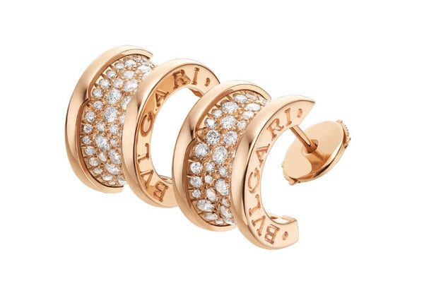 Bulgari B.Zero1 Pink Gold Diamond Curved Earrings 347814