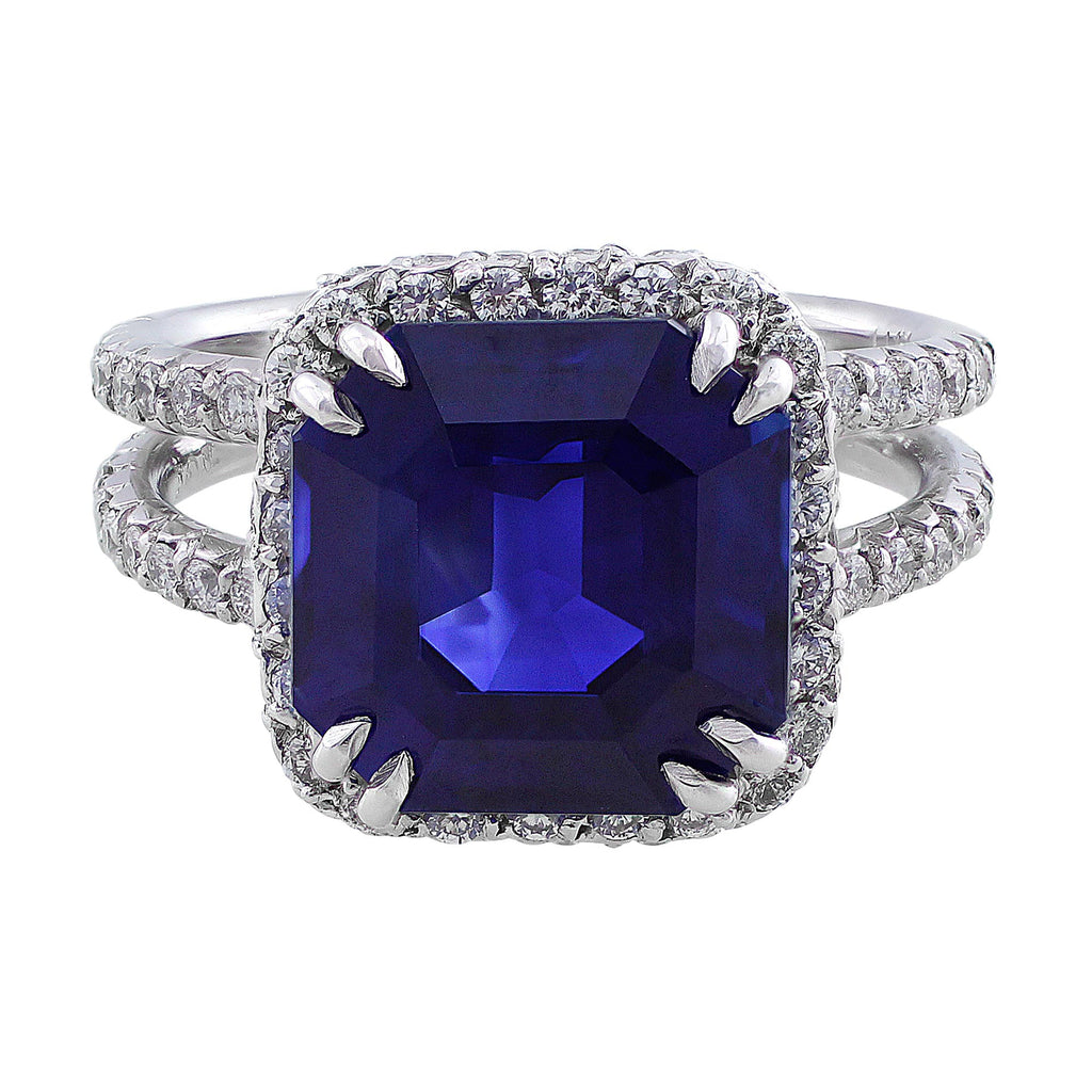 asscher diamond tv ring product halo sapphire engagement cut