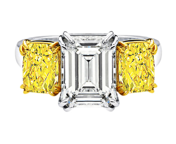 5ct Emerald Cut Diamond with Fancy Vivid Yellows