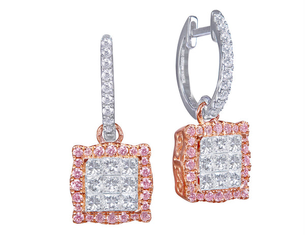 18kt White & Pink Diamond Square Drop Earrings