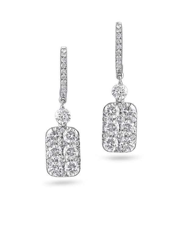 18kt White Gold Rectangular Motif Diamond Earrings