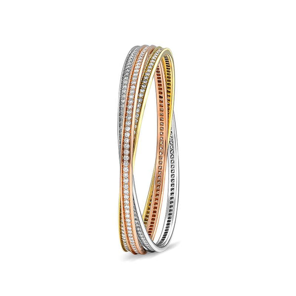 Estate Cartier Multicolored Gold Diamond Trinity Bangle Bracelet
