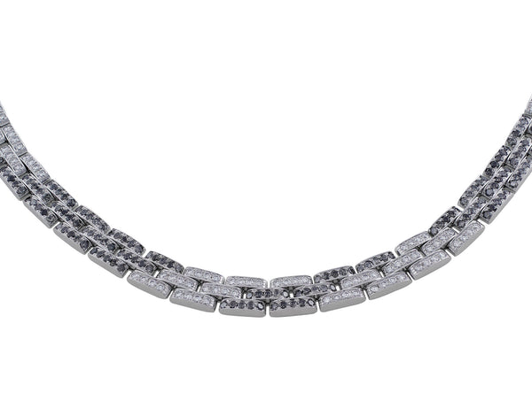 Estate Cartier Maillon Panther Black and White Diamond Necklace