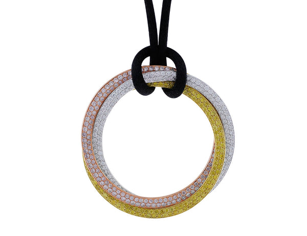 Estate Cartier Multicolored Diamond Trinity Necklace