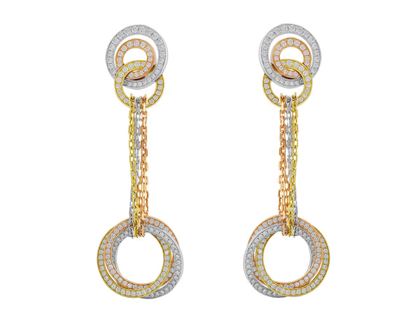 Estate Cartier Trinity Diamond French Clip Earrings
