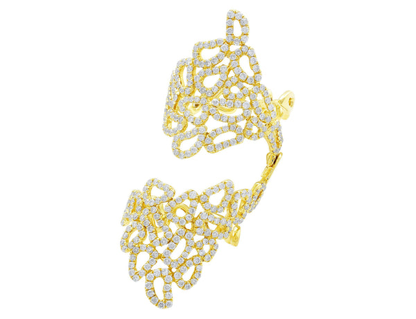 Double 18kt Yellow Gold Pavé Lace Ring