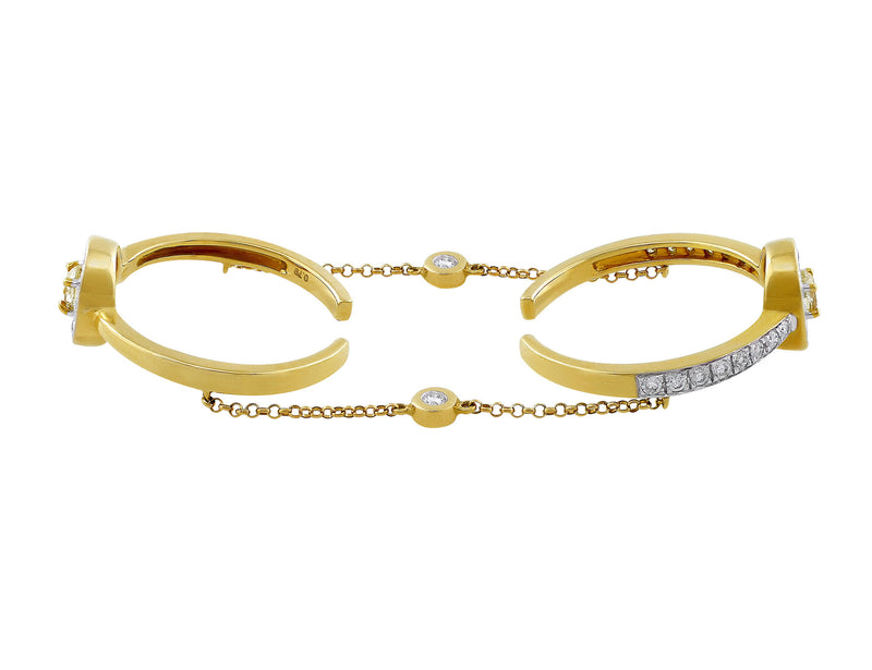 Yellow Gold Open Double Diamond Ring with Chain