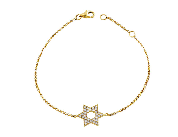Yellow Gold Diamond Star of David Chain Bracelet