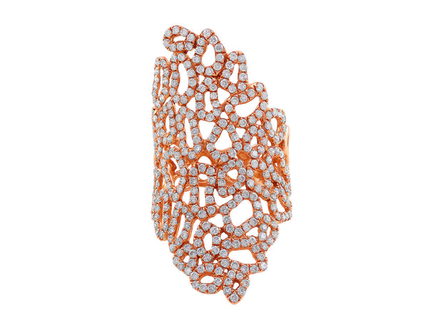 18kt Rose Gold Diamond Lace Ring