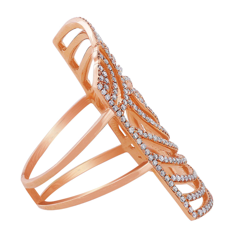 Slanted Rectangular Openwork Rose Gold Diamond Ring