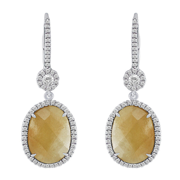 7ct Yellow Jasper Diamond Earrings