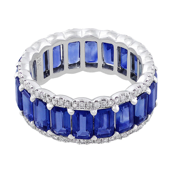 Emerald Cut Sapphire Diamond Eternity Ring