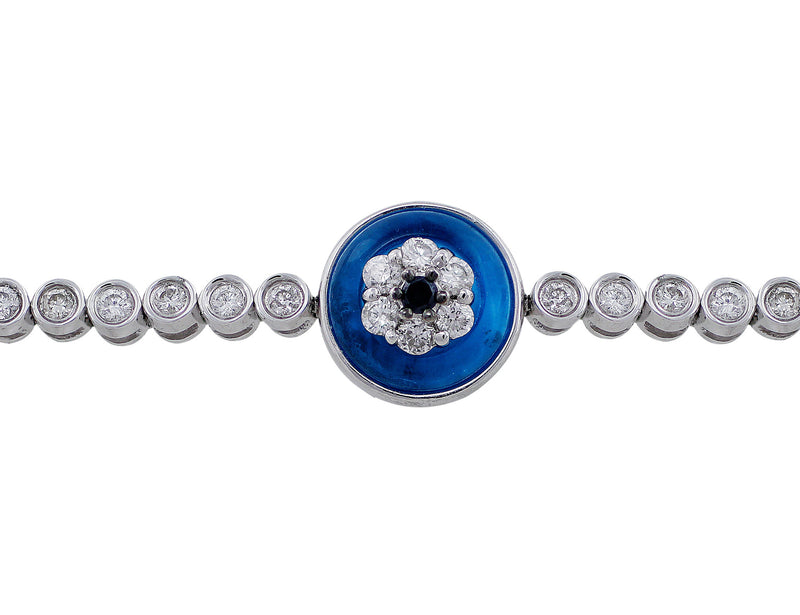 Diamond Blue Topaz Evil Eye Bracelet