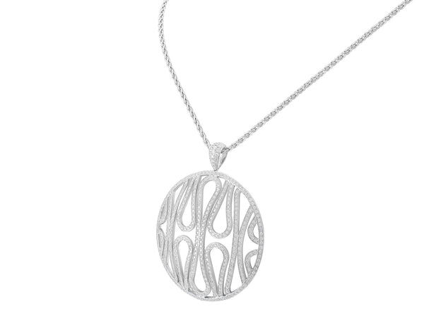 18kt White Gold Contemporary Diamond Pendant