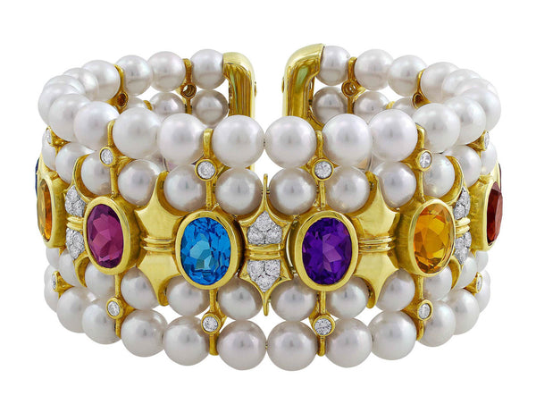 Estate 18kt Yellow Gold Pearl Diamond & Semi Precious Bracelet