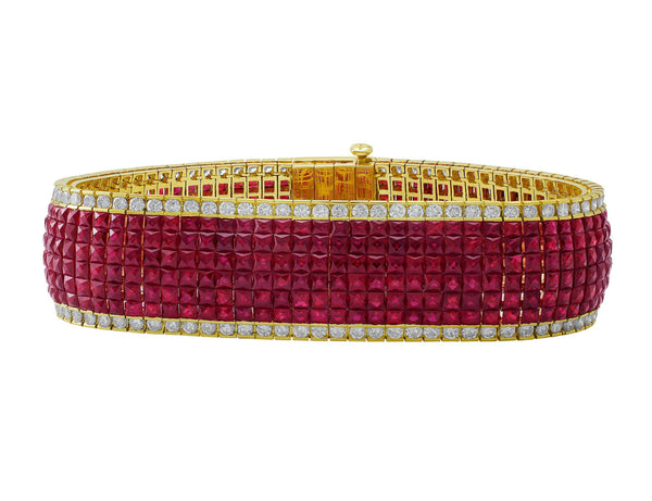 18kt Yellow Gold Diamond & Ruby Invisible Set Bracelet