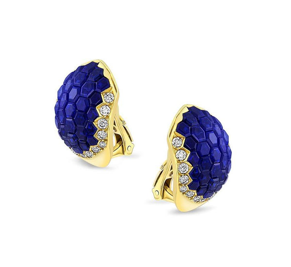 Estate Invisible Set Sapphire & Diamond Earrings