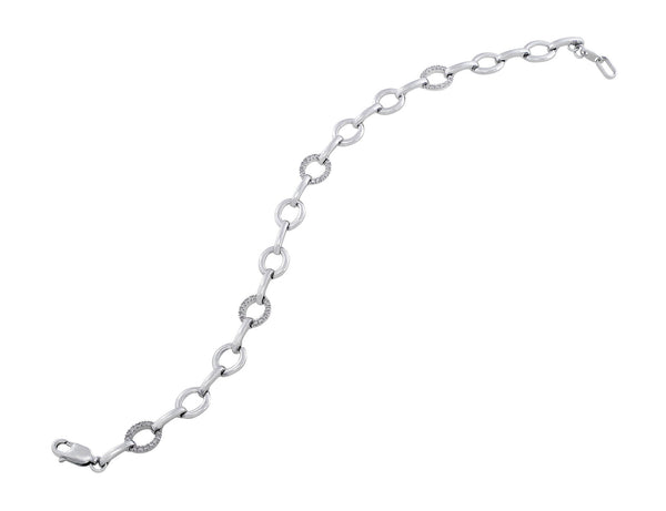 14kt White Gold Fashion Link Bracelet