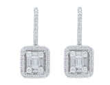 18kt White Gold Baguette & Round Diamond French Clip Earrings