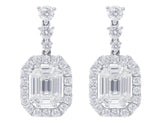 18kt White Gold Emerald & Round Brilliant Earrings