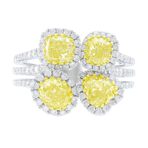 Four Stone Yellow Diamond Ring