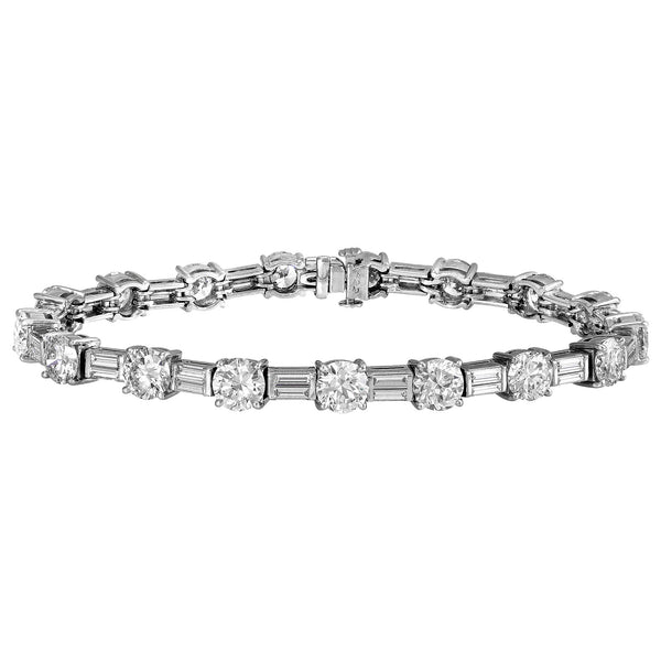 Round Brilliant and Baguette Diamond Bracelet