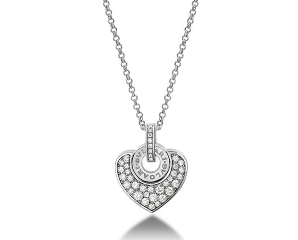 Bvlgari Bvlgari Cuore 18kt White Gold Diamond Heart Necklace