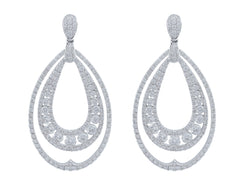 18kt White Gold Diamond Pear Motif Earrings
