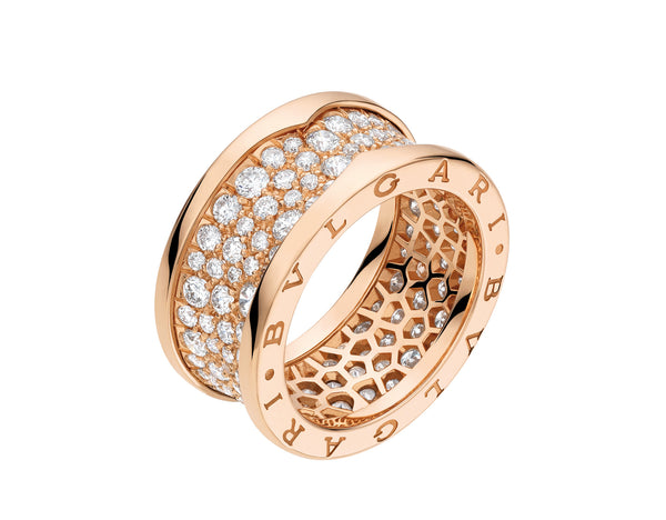 Bvlgari B.zero1 18kt Rose Gold Pavé Ring AN855553