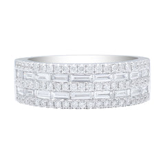 18kt White Gold Round Brilliant & Baguette Diamond Band