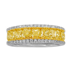 18kt White Gold Fancy Yellow Diamond Band