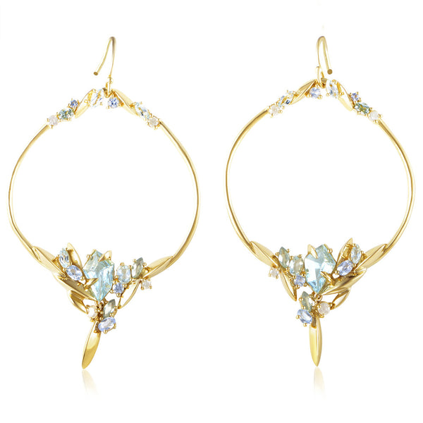 Alexis Bittar 18K Yellow Gold Diamond & Gem Marquise Earrings FN41E016