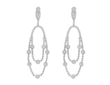 18kt White Gold Diamond Long Drop Chandelier Omega Earrings