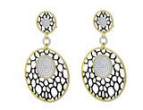 18kt Yellow Gold Lace Motif Pavé Omega Earrings