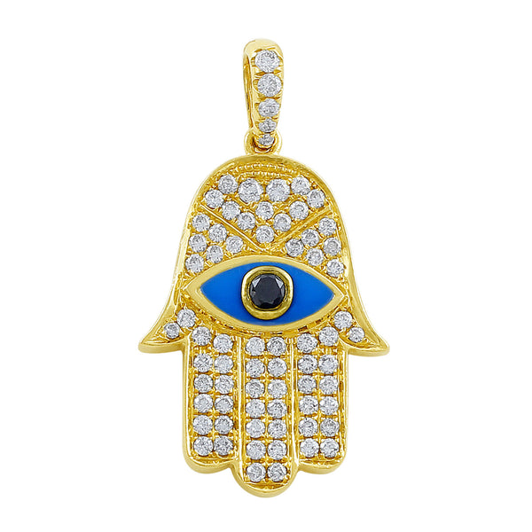 18kt Yellow Gold Diamond & Onyx Evil Eye Hamsa Pendant