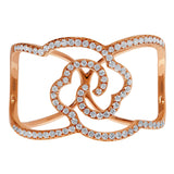 18kt Rose Gold Floral Motif Ring