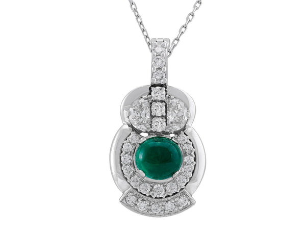 Estate Cabochon Emerald Owl Necklace