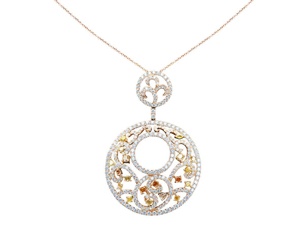 Circular 18kt Rose Gold Multicolor Diamond Pendant