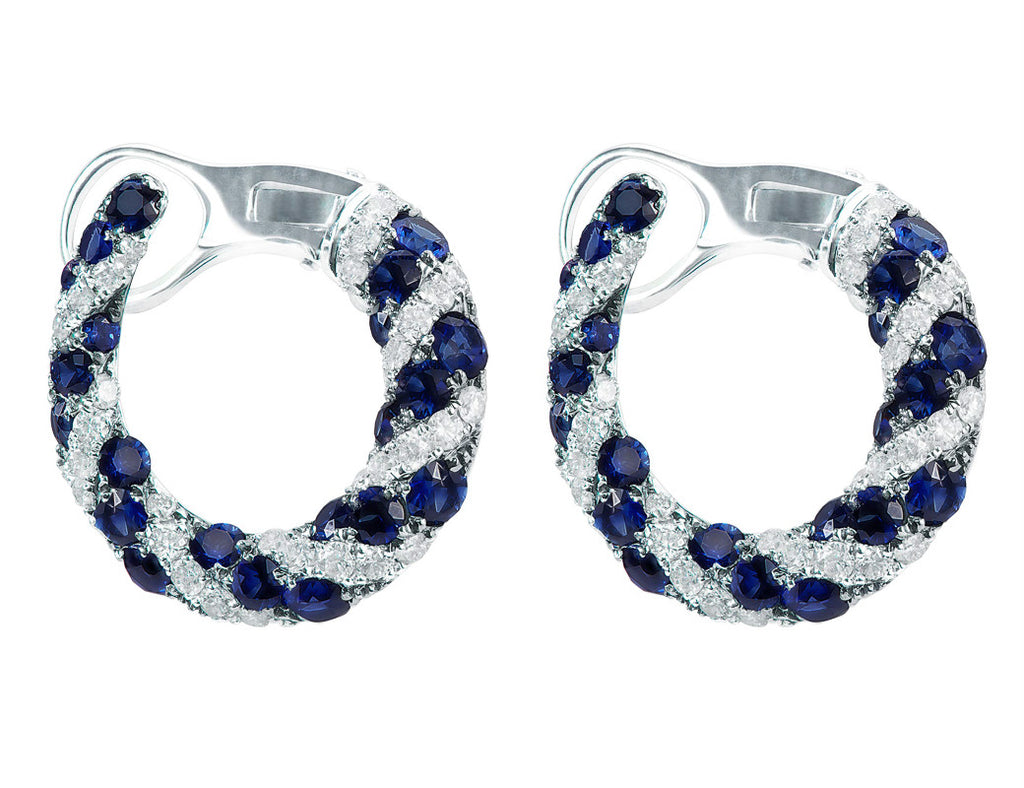 diamond earrings cj products horseshoe motif jewelers of charles and sapphire