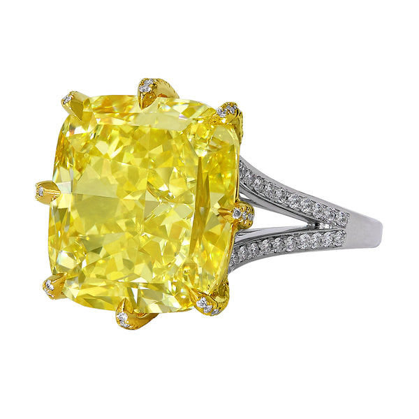 10.01 Fancy Intense Yellow Cushion Diamond Ring