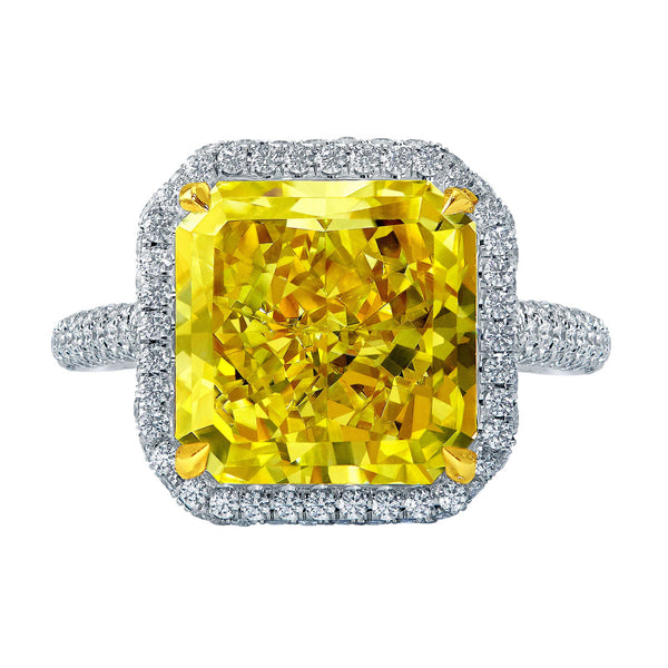 8.05ct Fancy Yellow Radiant Diamond Ring
