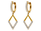 Odelia 18kt Rose Gold Diamond Rhombus Earrings